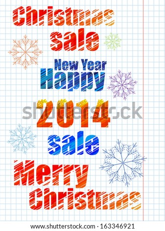 New Year sketching. Drawing on notebook sheet.Imitation of marker. Merry Christmas. Sale. - stock vector