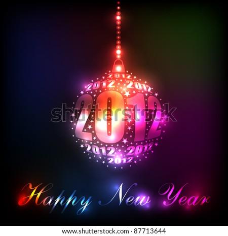 New Year 2012 Sparkling Rainbow Ornament Design (EPS10 Vector) - stock vector