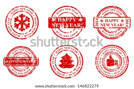 new year stamp icon - stock vector