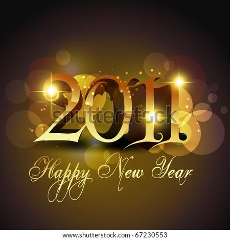 new year stylish golden template design - stock vector