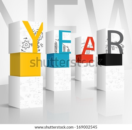 New year 2014 technology concept - stock vector