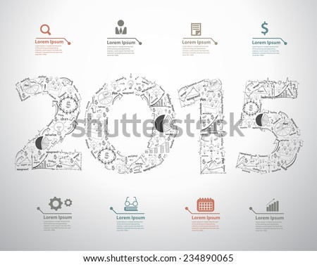 New year 2015 text design with creative drawing business success strategy plan ideas, Inspiration concept modern design template layout, data, diagram, step up options, Vector illustration - stock vector