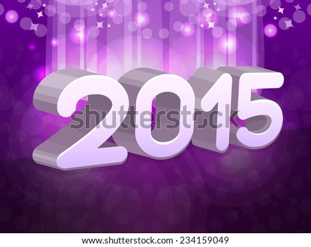 New year text 2015 on purple background. Vector illustration