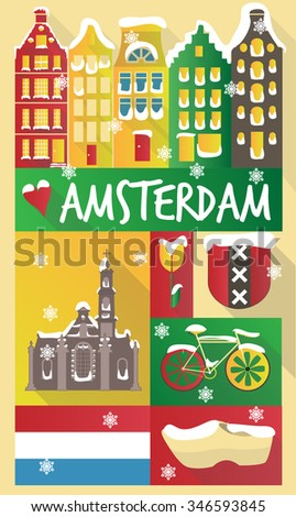 new year theme vector icon poster city of  amsterdam - stock vector