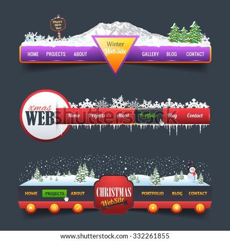 New Year Theme Web Elements Vector Header, Navigation Templates Set - stock vector