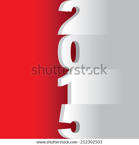 new year 2015 tittle, paper cuts on a red background - illustration - stock vector