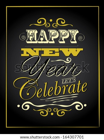 New Year Type poster advertising template. EPS 10 vector, grouped for easy editing. No open shapes or paths. - stock vector
