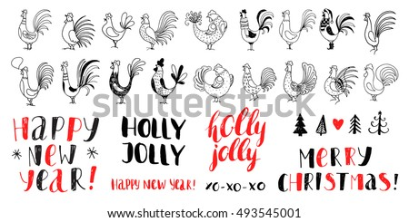 New Year vector  elements. 2017 year of rooster. Hand drawn background with rooster and Christmas tree. Handwritten inscription Happy New Year and Merry Christmas. Modern brush calligraphy.