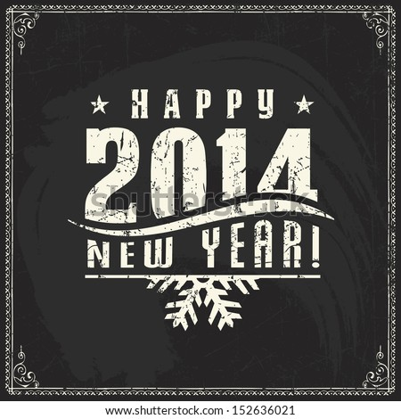 New year  vintage chalk text label on a blackboard - stock vector