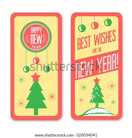 New Year vintage design greeting card background, vector illustration - stock vector