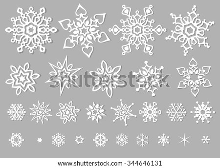 New Year white snowflakes isolated vector clip-art - stock vector