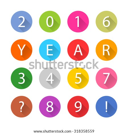 New Year 2016 white title text. Figures 1, 2, 3, 4, 5, 6, 7, 8, 9, 0. Flat circle icon blue, brown, cobalt, gray, green, indigo, magenta, orange, pink, purple, red, violet, yellow colors. Vector eps - stock vector