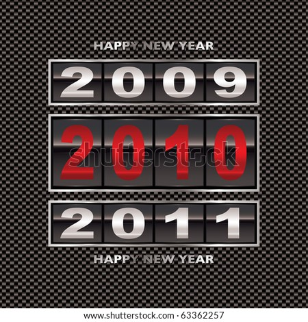 New year 2010 with carbon fiber background and ticker counter - stock vector