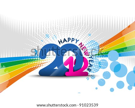 new year 2012 with color full bubble background - stock vector