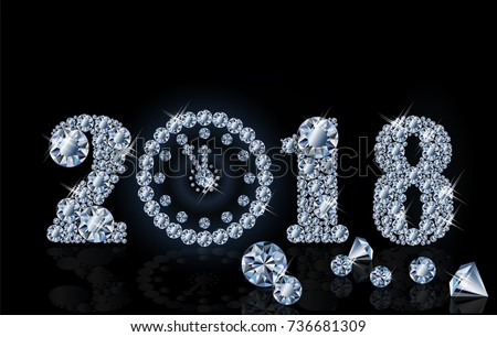 New 2018 year with diamond clock, wallpaper, vector illustration