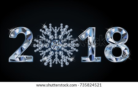New 2018 year with diamond snowflake, vector illustration