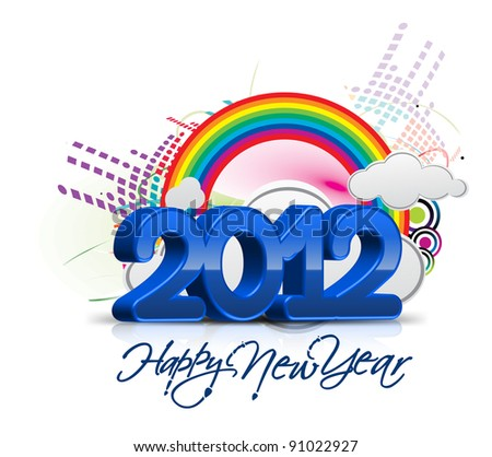 new year 2012 with rainbow cloud design background - stock vector