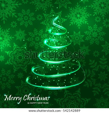 New year. Xmas tree on snowflakes background.Green color.Vector illustration