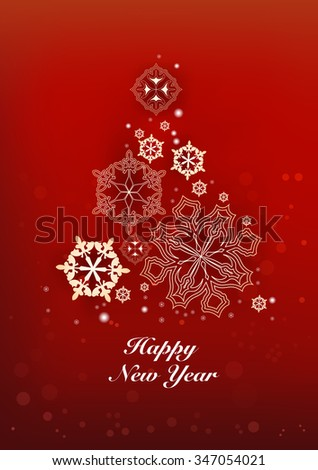 New Years and Christmas red background with Christmas Tree made of snowflakes. Vector illustration - stock vector
