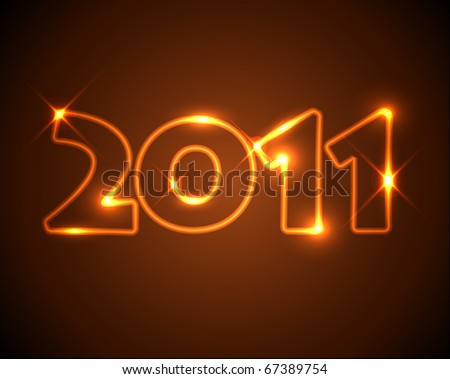 New Years card 2011 - golden / orange neon numbers - stock vector