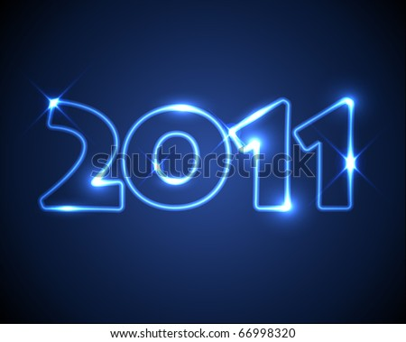 New Years card 2011 - neon numbers - stock vector