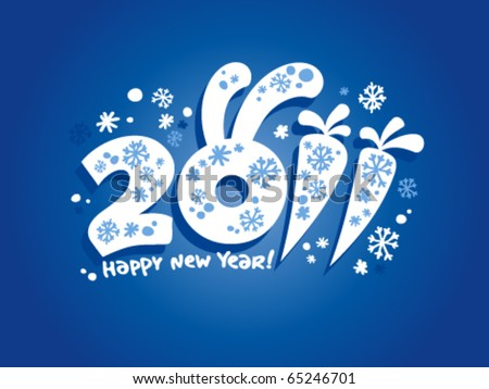 New Years card 2011 with bunny ears. - stock vector