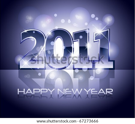 New Years card 2011 with lights and sparkle and place for your text - stock vector