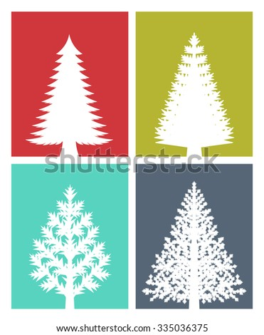 New Years greeting card. Flat design illustration of various types of Christmas trees on colored background. - stock vector