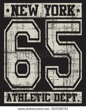 New York  Athletic Dept. Varsity Sport vector print and varsity. For t-shirt or other uses in vector.T shirt graphic - stock vector