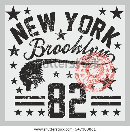 New York basketball college style graphic design vector art
