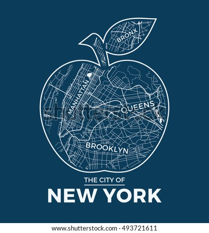 New York Big Apple Tshirt Graphic Stock Vector - Large image map of us vector labels