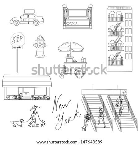 New York black and white illustration. NY city elements, taxi, subway entrance,skyscraper,stop sign, hydrant,hot dog , flower shop, walking dogs, running people on stairs of a subway. - stock vector