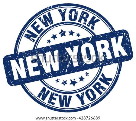 New York blue grunge round vintage rubber stamp.New York stamp.New York round stamp.New York grunge stamp.New York.New York vintage stamp. - stock vector