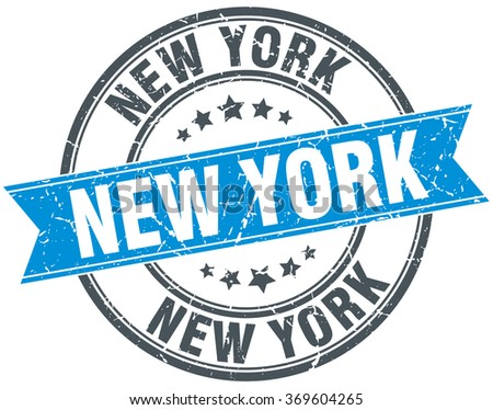 New York blue round grunge vintage ribbon stamp - stock vector