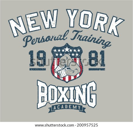 New York Boxing academy - Vintage artwork for sportswear in custom colors, grunge effect in separate layer - stock vector