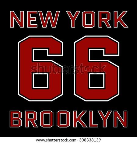 New York Brooklyn basketball Typography. Athletic T-shirt fashion graphics. Design Print for sportswear apparel. NYC original wear. Vector illustration - stock vector