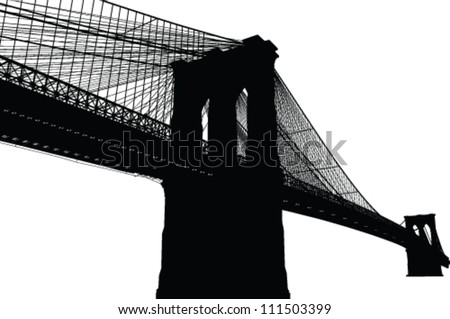 New York Brooklyn Bridge Black Silhouette Vector Illustration - stock vector