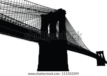 New York Brooklyn Bridge Black Silhouette Vector Illustration - stock vector