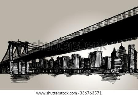 New York Brooklyn Bridge Hand Drawing Vector Illustration - stock vector
