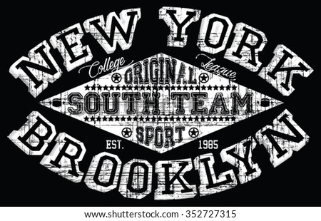 New York  - Brooklyn Sport  vector print and varsity. For t-shirt or other uses in vector.