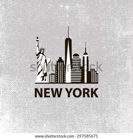 New York city architecture retro black and white vector illustration, skyline city silhouette, skyscraper, flat design - stock vector