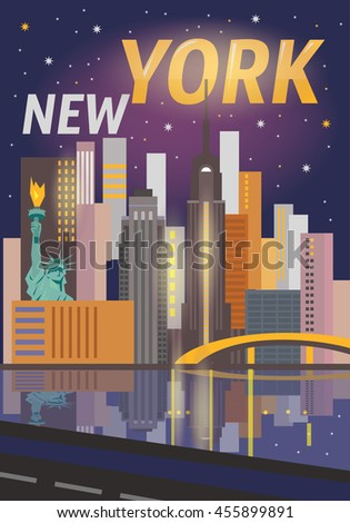 New York city architecture vector illustration. - stock vector