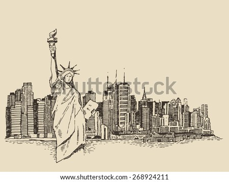 New York city architecture with Statue of Liberty on front, vector vintage engraved illustration, hand drawn, sketch - stock vector