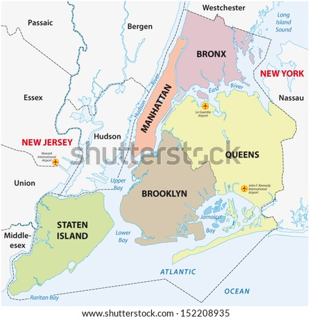 New York City Boroughs Map Stock Vector Shutterstock - New york city map with boroughs