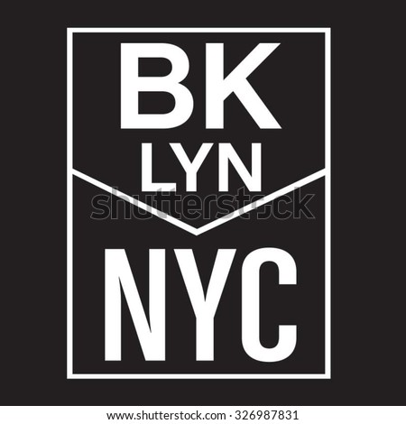 New York City brooklyn typography, t-shirt graphics, vectors - stock vector