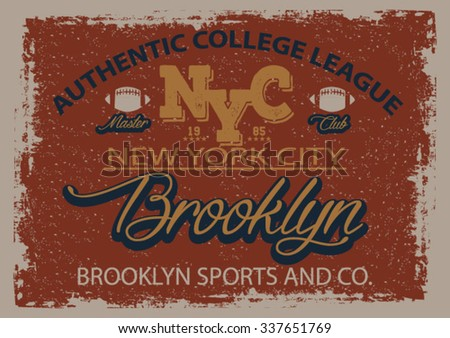 new york city college league typography, t-shirt graphics, vectors - stock vector
