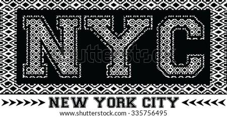 new york city college sport typography, t-shirt graphics, vectors - stock vector