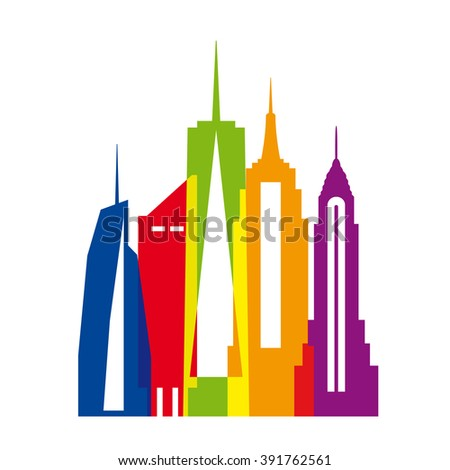 New York city, color vector illustration. Skyscrapers and Statue of Liberty. - stock vector