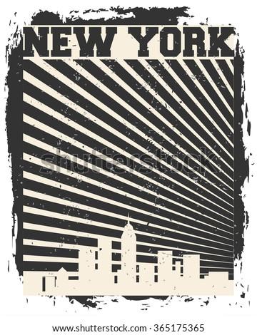 New York City concept. Logo. Label. T-shirt design. NYC. Creative poster design. - stock vector