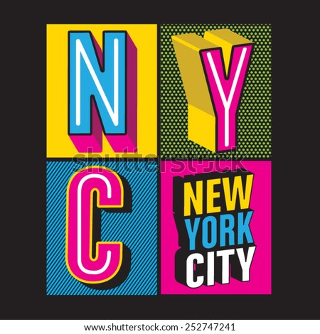 New York City 3d  typography, t-shirt graphics, vectors, girl  - stock vector
